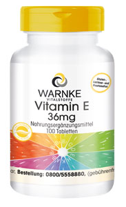 Vitamin E 36mg 100 Tabletten, ölfrei, vegan